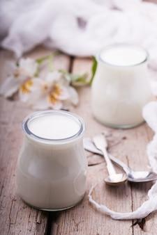 Yogurt in jars,homemade