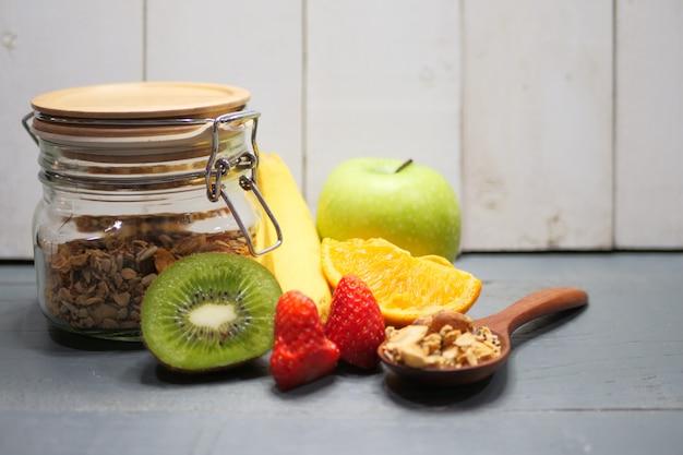 Yogurt parfait with granola and fresh fruit, healthy breakfast concept