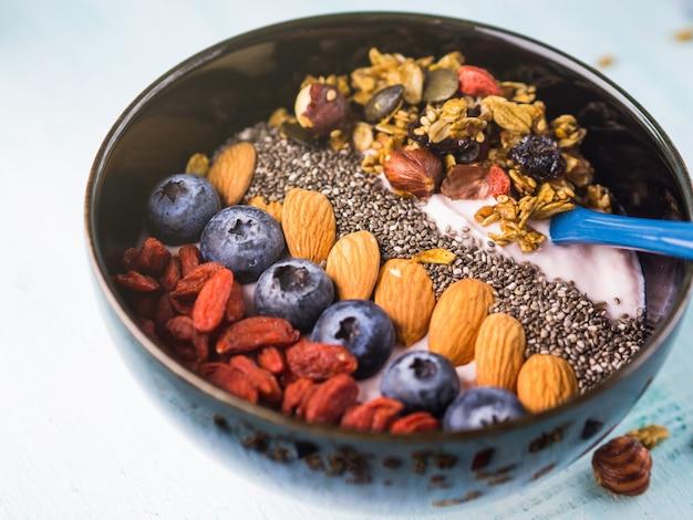 Yogurt raspberry smoothie bowl with granola