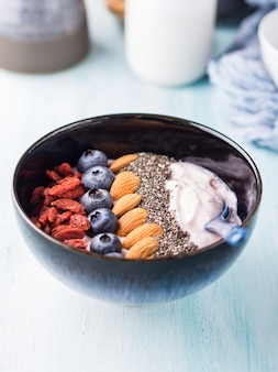 Yogurt smoothie bowl with berries, nuts, chia