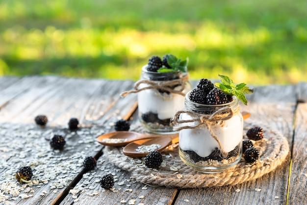 Yogurt with blackberries and raspberries from fresh