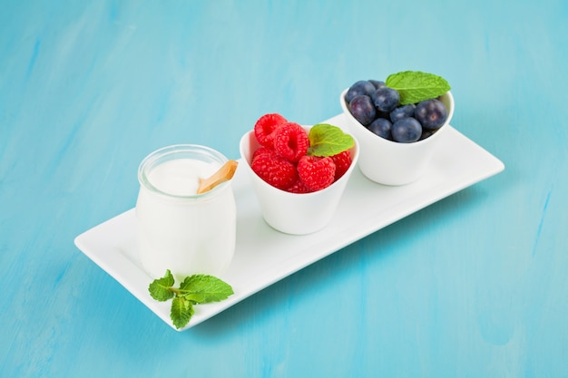 Yogurt with blueberries and raspberies - health and diet concept. balanced healthy breakfast