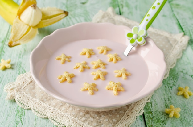 Yogurt  with corn stars
