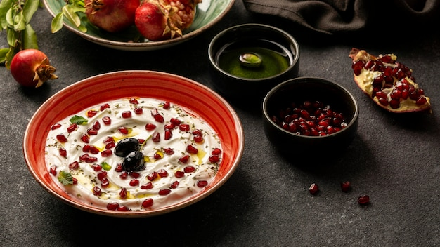Yogurt with pomegranate and olive oil