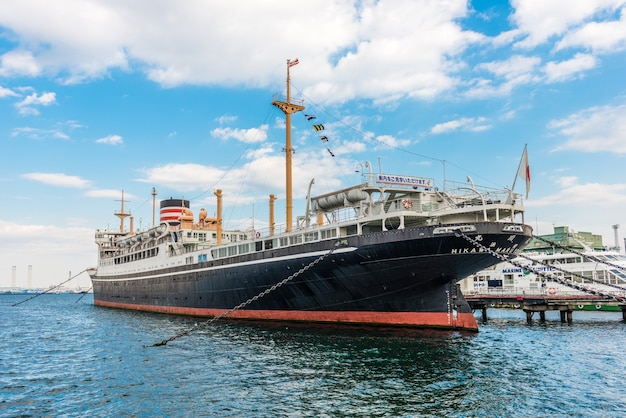 Yokohama - november 7: a big ship named hikawa maru on the shore of yokohama port