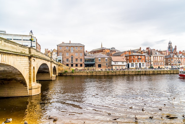 York, yorkshire, united kingdom - sep 3, 2019: york city with river ouse in york ,united kingdom.