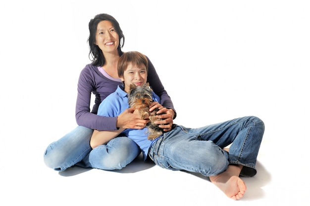 Yorkshire terrier and asian family