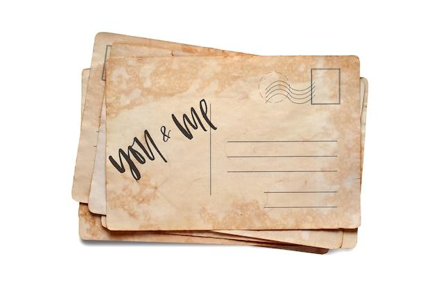 Ты и я. надпись на старинной открытке. изолированные на белом.