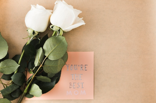 You are the best mom inscription with roses