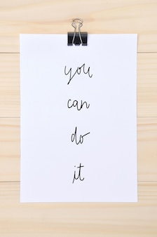 You can do it quote on white paper