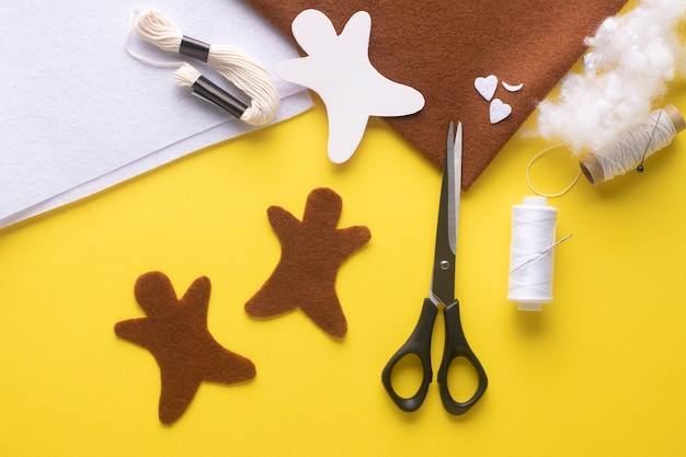 You will need two pieces of felt christmas gingerbread man. step-by-step manufacturing instructions. step 3.