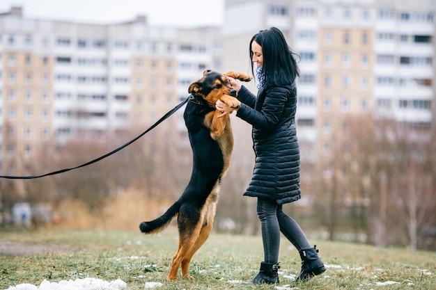 彼女の素敵な犬を屋外で遊ぶダウンジャケットの若いアクティブな黒い髪の女の子。陽気な幸せな女性は棒で楽しさとトレーニングの子犬を持っています。純血種のペットと踊るかわいい女性。犬を飼っている飼い主