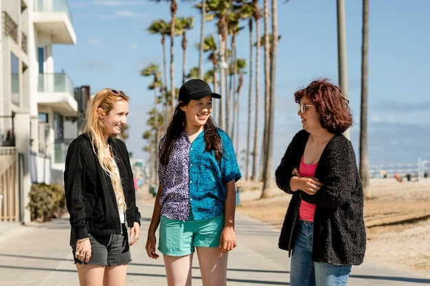 Young adult friends, summer in venice beach, los angeles