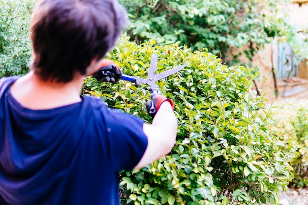 家の庭で生け垣を剪定する若い成人男性。庭師