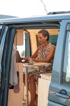 Giovane adulto che utilizza un dispositivo digitale durante il viaggio