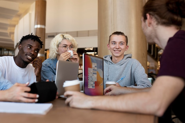 Young adults meeting up to study