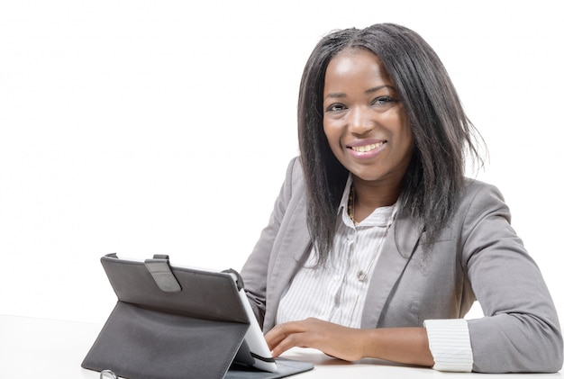 Young african american  working on laptop