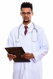 Young african man doctor holding clipboard isolated on white
