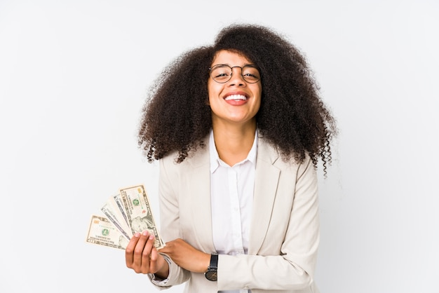 Young afro business woman holding a credit car young afro business woman holding a credit carlaughing and having fun.