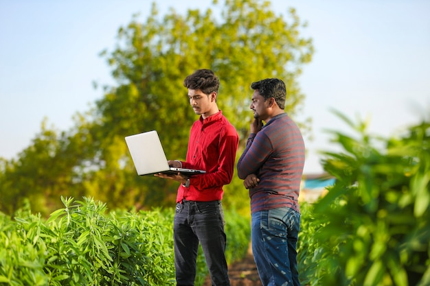Young agronomist analyzing field with farmer, indian farming