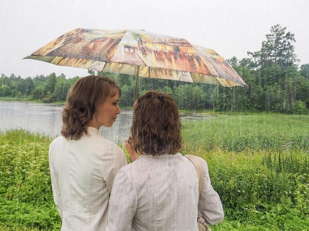 傘の下に立っている若い女性と年配の女性