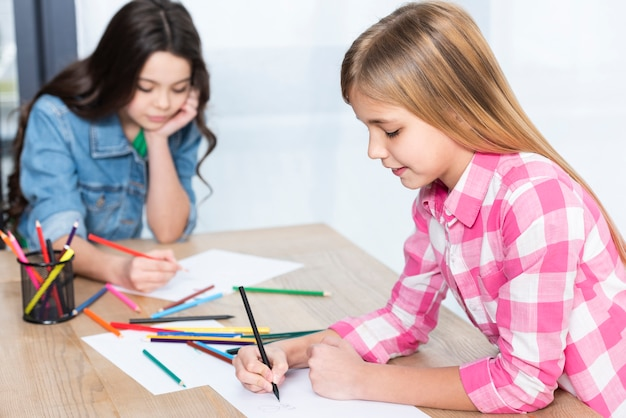 Young angle girls coloring
