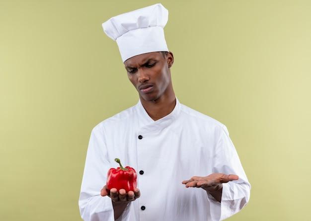 シェフの制服を着た若いイライラするアフリカ系アメリカ人の料理人は、赤唐辛子を保持し、コピースペースで緑の背景に分離された手を開いたままにします