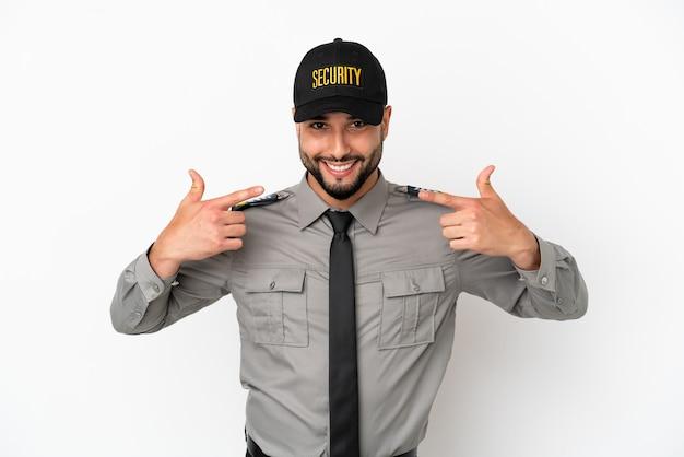 Молодой арабский человек, изолированные на белом фоне, показывает палец вверх жест
