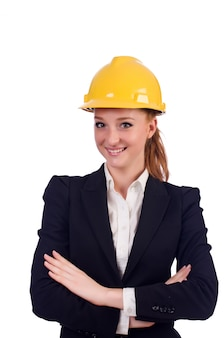 Young architect isolated on the white background
