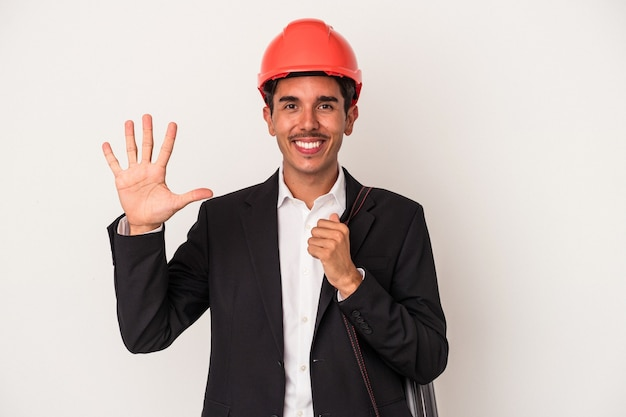 Young architect mixed race man isolated on white background smiling cheerful showing number five with fingers.