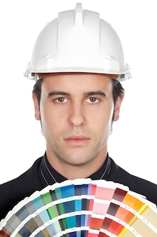 Young architect over white background