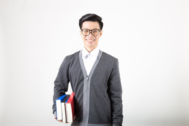 Young asia graduate student with accessories of learning