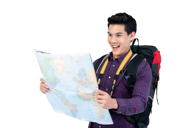 Young asian backpacker holding world map