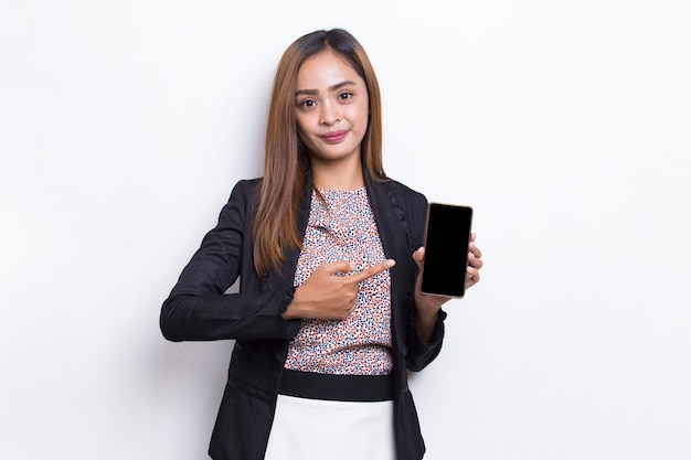 Young asian business woman demonstrating mobile cell phone isolated on white background
