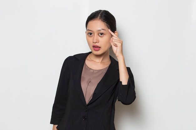 Young asian business woman thinks idea on white background