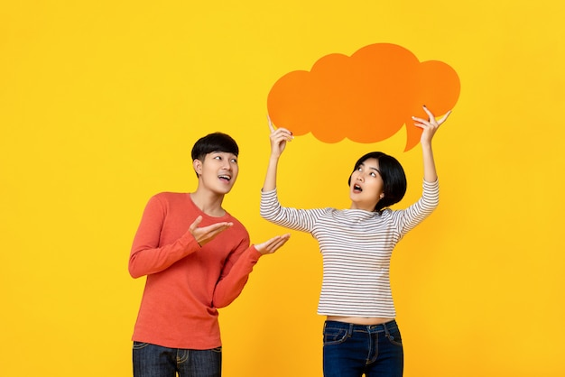 Young asian college student friends with speech bubble