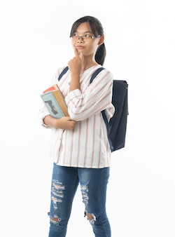 Young asian girl student with school bag