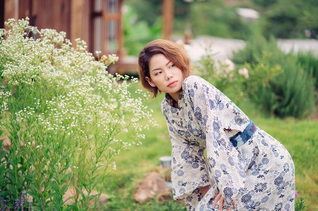 Young asian girl wearing kimono