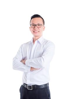 흰 셔츠와 eyeglasse 팔 교차점을 입고 젊은 아시아 잘 생긴 남자