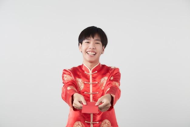 Young asian man in mandarin collar dress