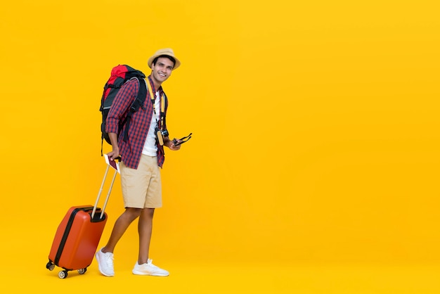 Young asian man ready to travel