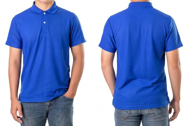 젊은 아시아 남자는 파란색 폴로 티셔츠를 착용