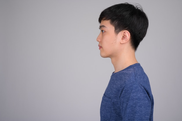 Young asian man on white backgrou