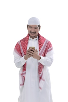 Young asian muslim man pray to god