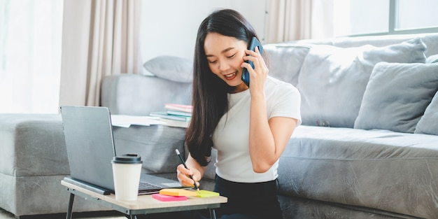 Young asian operator woman work in call center from home, team operator call center service concept