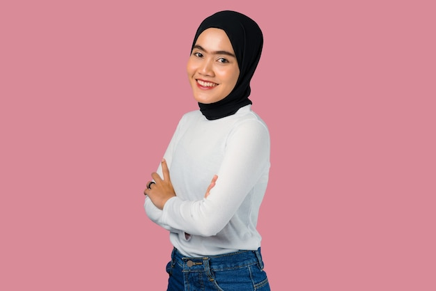 Young asian woman confidence with folded hand