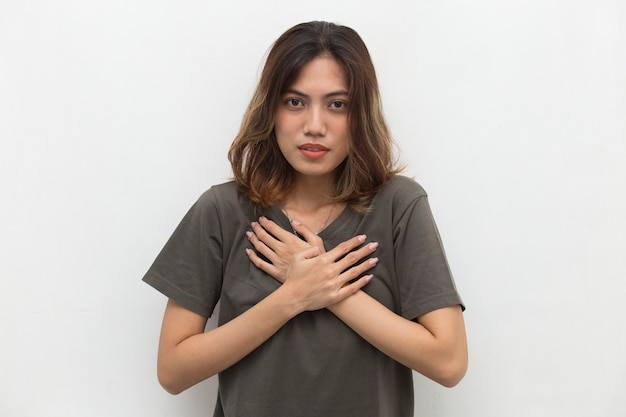 Young asian woman got chest pain
