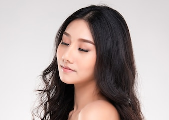 Young asian woman with clean skin of the face