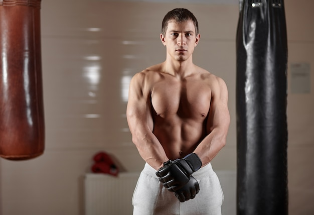 Young athletic muscular man near punching bags in boxing gym interior