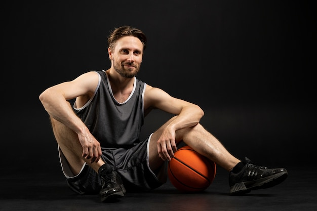 Young athletic player of basketball